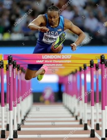United States' Aries Merritt competes in a Men's 110m hurdles semifinal during the World Athletics Championships in London