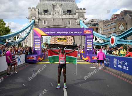 Edna Kiplagat of Kenya poses after coming 2nd in the Women's Marathon