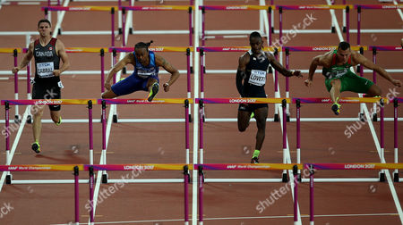 Aries Merritt of USA (2nd left) during the Men's 110m hurdles