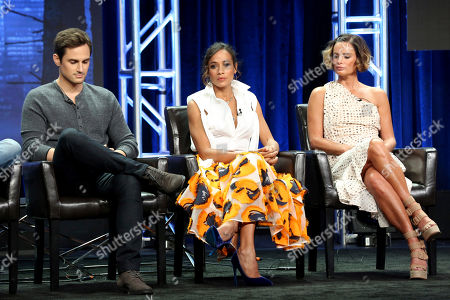 """Andrew J. West, Dania Ramirez, Gabrielle Anwar Andrew J. West, from left, Dania Ramirez and Gabrielle Anwar participate in the """"Once Upon A Time"""" panel during the Disney ABC Television Critics Association Summer Press Tour at the Beverly Hilton, in Beverly Hills, Calif"""