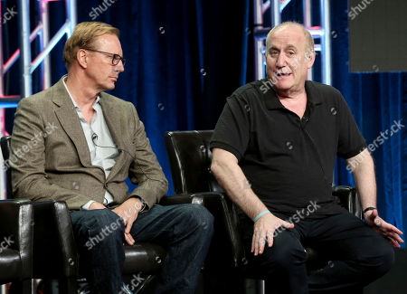 """Scott Buck, Jeph Loeb Executive producers Scott Buck, left, and Jeph Loeb participate in the """"Marvel Inhumans"""" panel during the Disney ABC Television Critics Association Summer Press Tour at the Beverly Hilton, in Beverly Hills, Calif"""