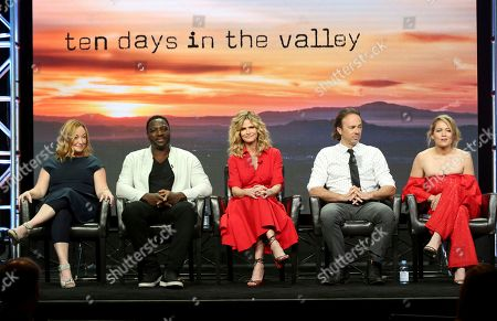 "Tassie Cameron, Adewale Akinnuoye-Agbaje, Kyra Sedgwick, Kick Gurry, Erika Christensen Tassie Cameron, from left, Adewale Akinnuoye-Agbaje, Kyra Sedgwick, Kick Gurry and Erika Christensen participate in the ""Ten Days In The Valley"" panel during the Disney ABC Television Critics Association Summer Press Tour at the Beverly Hilton, in Beverly Hills, Calif"