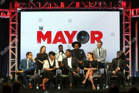"Jeremy Bronson, Jamie Tarses, Yvette Nicole Brown, Bernard David Jones, Brandon Micheal Hall, Marcel Spears, Lea Michele, James Griffiths, Daveed Diggs Jeremy Bronson, from left, Jamie Tarses, Yvette Nicole Brown, Bernard David Jones, Brandon Micheal Hall, Marcel Spears, Lea Michele, James Griffiths and Daveed Diggs participate in the ""The Mayor"" panel during the Disney ABC Television Critics Association Summer Press Tour at the Beverly Hilton, in Beverly Hills, Calif"