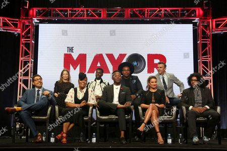 """Jeremy Bronson, Jamie Tarses, Yvette Nicole Brown, Bernard David Jones, Brandon Micheal Hall, Marcel Spears, Lea Michele, James Griffiths, Daveed Diggs Jeremy Bronson, from left, Jamie Tarses, Yvette Nicole Brown, Bernard David Jones, Brandon Micheal Hall, Marcel Spears, Lea Michele, James Griffiths and Daveed Diggs participate in the """"The Mayor"""" panel during the Disney ABC Television Critics Association Summer Press Tour at the Beverly Hilton, in Beverly Hills, Calif"""
