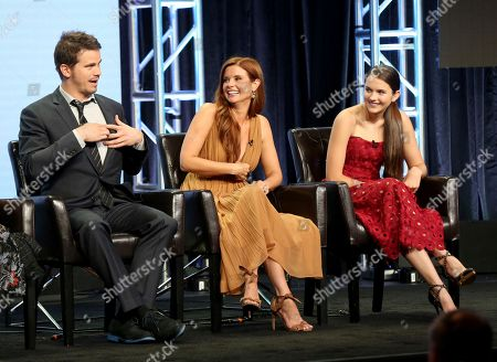 """Jason Ritter, Joanna Garcia Swisher, Chloe East Jason Ritter, from left, Joanna Garcia Swisher and Chloe East participate in the """"Kevin (Probably) Saves The World"""" panel during the Disney ABC Television Critics Association Summer Press Tour at the Beverly Hilton, in Beverly Hills, Calif"""