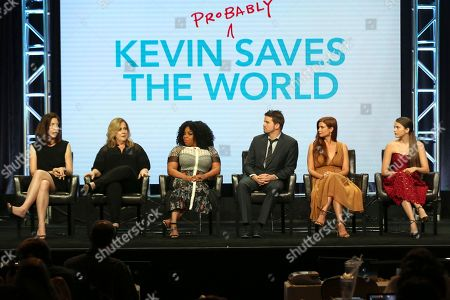 """Michele Fazekas, Tara Butters, Kimberly Hebert Gregory, Jason Ritter, Joanna Garcia Swisher, Chloe East Michele Fazekas, from left, Tara Butters, Kimberly Hebert Gregory, Jason Ritter, Joanna Garcia Swisher and Chloe East participate in the """"Kevin (Probably) Saves The World"""" panel during the Disney ABC Television Critics Association Summer Press Tour at the Beverly Hilton, in Beverly Hills, Calif"""