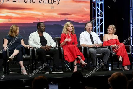 """Stock Picture of Tassie Cameron, Adewale Akinnuoye-Agbaje, Kyra Sedwick, Kick Gurry, Erika Christensen Tassie Cameron, from left, Adewale Akinnuoye-Agbaje, Kyra Sedwick, Kick Gurry and Erika Christensen participate in the """"Ten Days In The Valley"""" panel during the Disney ABC Television Critics Association Summer Press Tour at the Beverly Hilton, in Beverly Hills, Calif"""