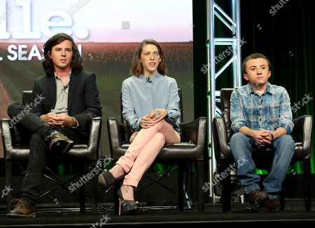 """Charlie McDermott, Eden Sher, Atticus Shaffer Charlie McDermott, left, Eden Sher and Atticus Shaffer participate in the """"The Middle"""" panel during the Disney ABC Television Critics Association Summer Press Tour at the Beverly Hilton, in Beverly Hills, Calif"""