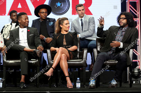 "Bernard David Jones, Brandon Micheal Hall, Marcel Spears, Lea Michele, James Griffiths, Daveed Diggs Bernard David Jones, from left, Brandon Micheal Hall, Marcel Spears, Lea Michele, James Griffiths and Daveed Diggs participate in the ""The Mayor"" panel during the Disney ABC Television Critics Association Summer Press Tour at the Beverly Hilton, in Beverly Hills, Calif"