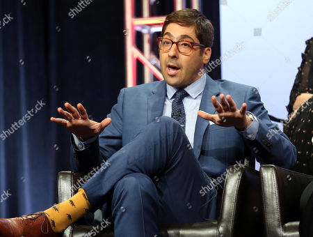 """Jeremy Bronson speaks at the """"The Mayor"""" panel during the Disney ABC Television Critics Association Summer Press Tour at the Beverly Hilton, in Beverly Hills, Calif"""