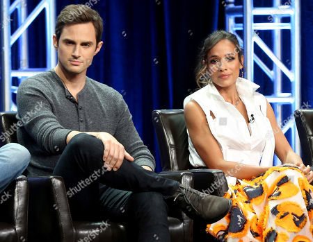 """Andrew J. West, Dania Ramirez Andrew J. West, left, and Dania Ramirez participate in the """"Once Upon A Time"""" panel during the Disney ABC Television Critics Association Summer Press Tour at the Beverly Hilton, in Beverly Hills, Calif"""