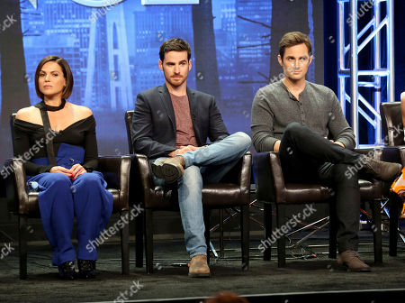 """Lana Parilla, Colin O'Donoghue, Andrew J. West Lana Parilla, from left, Colin O'Donoghue and Andrew J. West participate in the """"Once Upon A Time"""" panel during the Disney ABC Television Critics Association Summer Press Tour at the Beverly Hilton, in Beverly Hills, Calif"""