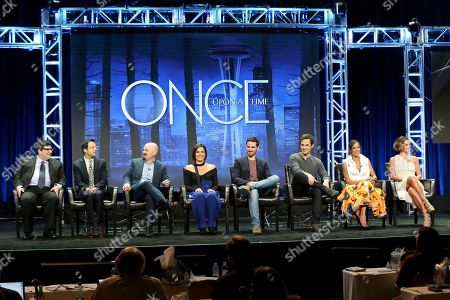 """Adam Horowitz, Edward Kitsis, David H. Goodman, Lana Parilla, Colin O'Donoghue, Andrew J. West, Dania Ramirez, Gabrielle Anwar Adam Horowitz, from left, Edward Kitsis, David H. Goodman, Lana Parilla, Colin O'Donoghue, Andrew J. West, Dania Ramirez and Gabrielle Anwar participate in the """"Once Upon A Time"""" panel during the Disney ABC Television Critics Association Summer Press Tour at the Beverly Hilton, in Beverly Hills, Calif"""