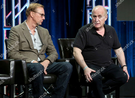 """Scott Buck, Jeph Loeb Scott Buck, left, and Jeph Loeb participate in the """"Marvel Inhumans"""" panel during the Disney ABC Television Critics Association Summer Press Tour at the Beverly Hilton, in Beverly Hills, Calif"""