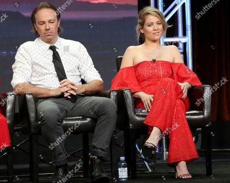 """Stock Photo of Kick Gurry, Erika Christensen Kick Gurry, left, and Erika Christensen participate in the """"Ten Days In The Valley"""" panel during the Disney ABC Television Critics Association Summer Press Tour at the Beverly Hilton, in Beverly Hills, Calif"""