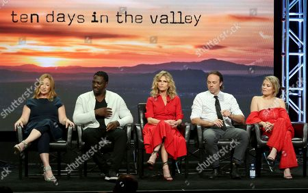 "Tassie Cameron, Adewale Akinnuoye-Agbaje, Kyra Sedwick, Kick Gurry, Erika Christensen Tassie Cameron, from left, Adewale Akinnuoye-Agbaje, Kyra Sedwick, Kick Gurry and Erika Christensen participate in the ""Ten Days In The Valley"" panel during the Disney ABC Television Critics Association Summer Press Tour at the Beverly Hilton, in Beverly Hills, Calif"