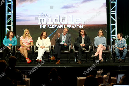 """Eileen Heisler, Deann Heline, Patricia Heaton, Neil Flynn, Charlie McDermott, Eden Sher, Atticus Shaffer Eileen Heisler, from left, Deann Heline, Patricia Heaton, Neil Flynn, Charlie McDermott, Eden Sher and Atticus Shaffer participate in the """"The Middle"""" panel during the Disney ABC Television Critics Association Summer Press Tour at the Beverly Hilton, in Beverly Hills, Calif"""
