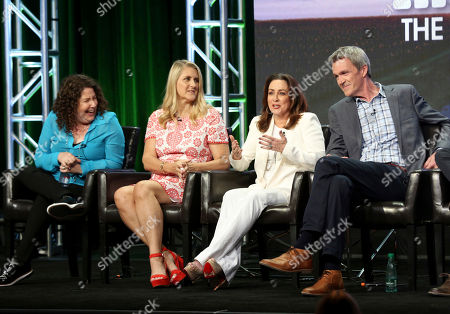"""Stock Picture of Eileen Heisler, Deann Heline, Patricia Heaton, Neil Flynn Eileen Heisler, left, Deann Heline, Patricia Heaton and Neil Flynn participate in the """"The Middle"""" panel during the Disney ABC Television Critics Association Summer Press Tour at the Beverly Hilton, in Beverly Hills, Calif"""