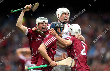 Kilkenny vs Galway. Galway goalkeeper Darrach Fahy, Caimin Killeen, Daniel Loftus and Mark Gill celebrate at the final whistle