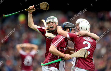 Kilkenny vs Galway. Galway's Caimin Killeen, Daniel Loftus and Mark Gill celebrate at the final whistle