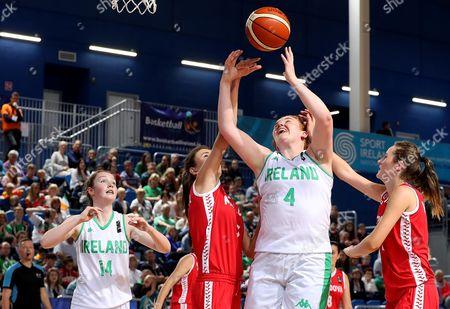 Stock Image of FIBA Under 18 Women's European Championship, National Indoor Arena, Court 1, Abbotstown, Dublin 6/8/2017 . Ireland vs Moldova. Ireland's Margaret Byrne attempts a basket