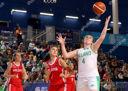 Stock Picture of FIBA Under 18 Women's European Championship, National Indoor Arena, Court 1, Abbotstown, Dublin 6/8/2017 . Ireland vs Moldova. Ireland's Margaret Byrne with Veronica Dolinta of Moldova