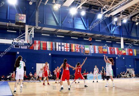 FIBA Under 18 Women's European Championship, National Indoor Arena, Court 1, Abbotstown, Dublin 6/8/2017 . Ireland vs Moldova. Ireland's Margaret Byrne shoots a basket