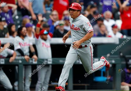Hyun soo kim Philadelphia Phillies' Hyun Soo Kim rounds third base to score the go-ahead run on a double hit by Cameron Rupp off Colorado Rockies relief pitcher Greg Holland in the ninth inning of a baseball game, in Denver. The Phillies won 3-2