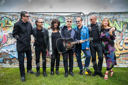 Stock Picture of Peter Hooton, Owen Paul, Jaki Graham, Glen Mlock, Martyn Ware, Glenn Gregory and Claudia Brucken of the British Electric Foundion