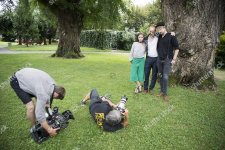 """Swiss actress Jasna Fritzi Bauer, left, Swiss Film Director Dominik Locher, centre, and Swiss actor Sven Schenker, right, poses during the photocall for the film """"Goliath"""" at the 70th Locarno International Film Festival in Locarno, Switzerland, 07 August 2017. The event runs from 02 to 12 August."""