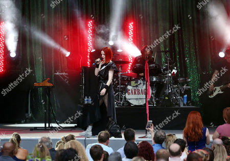 Shirley Manson, Duke Erikson, Steve Marker, Butch Vig Shirley Manson, Duke Erikson, Steve Marker and Butch Vig with Garbage performs during Blondie & Garbage: The Rage and Rapture Tour at Chastain Park Amphitheatre, in Atlanta
