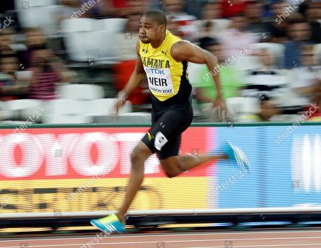 Jamaica's Warren Weir competes in a men's 200-meter first round heat during the World Athletics Championships in London