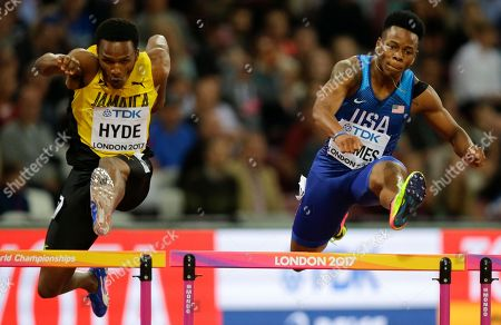 Stock Image of United States' Tj Holmes, right, and Jamaica's Jaheel Hyde in a Men's 400m hurdles semifinal during the World Athletics Championships in London