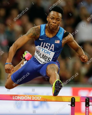 United States' Tj Holmes competes in a Men's 400m hurdles semifinal during the World Athletics Championships in London
