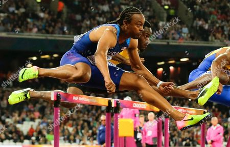 United States' Aries Merritt competes in the final of the Men's 110m hurdles during the World Athletics Championships in London