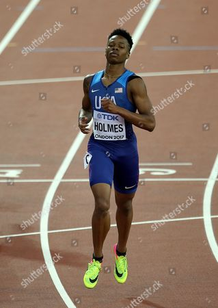 Stock Picture of Tj Holmes of USA after the Men's 400 metres hurdles heats