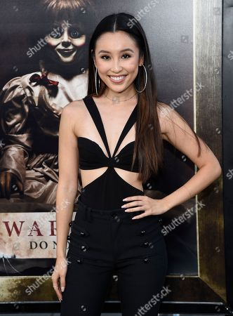 "Olivia Sui arrives at the Los Angeles premiere of ""Annabelle: Creation"" at the TCL Chinese Theatre on"