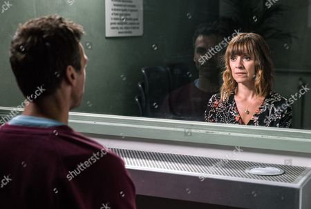 Stock Image of Ep 7915 Tuesday 22nd August 2017 Rhona Goskirk, as played by Zoe Henry, insists she needs to visit Pierce Harris, as played by Jonathan Wrather, in prison. But will it help and will it give her closure?