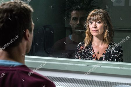 Stock Photo of Ep 7915 Tuesday 22nd August 2017 Rhona Goskirk, as played by Zoe Henry, insists she needs to visit Pierce Harris, as played by Jonathan Wrather, in prison. But will it help and will it give her closure?