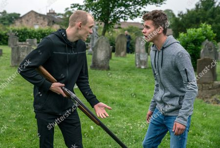 Stock Picture of Ep 7903 Wednesday 9th August 2017 A wound-up Josh, as played by Conner Chapman, stupidly takes Pollard's shotgun and after some teasing from Jamie and his gang, before long the gun has been fired and the police called. Also pictured Jacob Gallagher, as played by Joe Warren Plant,