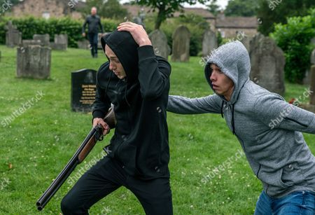 Ep 7903 Wednesday 9th August 2017 A wound-up Josh, as played by Conner Chapman, stupidly takes Pollard's shotgun and after some teasing from Jamie and his gang, before long the gun has been fired and the police called. Also pictured Jacob Gallagher, as played by Joe Warren Plant,
