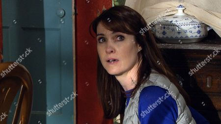 Stock Image of Ep 7907 Monday 14th August 2017 Finn Barton, as played by Joe Gill, unexpectedly discovers an agitated Emma Barton, as played by Gillian Kearney, at Wylie's Farm and sees her shoving a note furtively into her pocket.