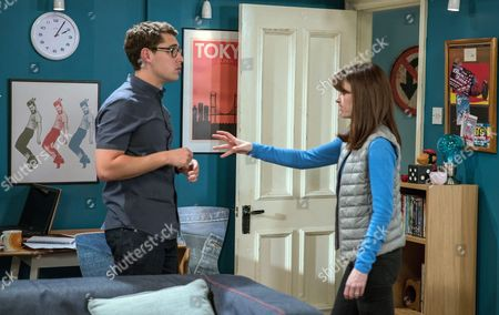Stock Photo of Ep 7908 & 7909 Tuesday 15th August 2017  Emma Barton, as played by Gillian Kearney, searches for the note and is shaken when Finn Barton, as played by Joe Gill, presents it to her then goes to rip it up. Unable to bear it, she grabs it from him and is forced to admit James wrote it. Seeing his mum upset, Finn doesn't probe her any further.
