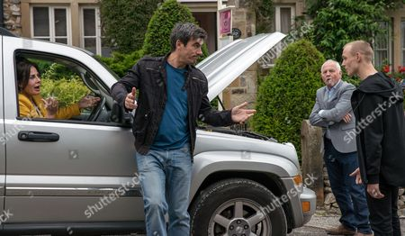 Ep 7900 Monday 7 August 2017 -  Pollard, as played by Chris Chittell, is taking Faith Dingle, as played by Sally Dexter, out to dinner but can't get his car started. Cain Dingle, as played by Jeff Hordley, is unhappy about Pollard taking his mum out and is reticent to help. Soon Josh, as played by Conner Chapman, turns up and fixes the car leaving Pollard begrudgingly impressed.
