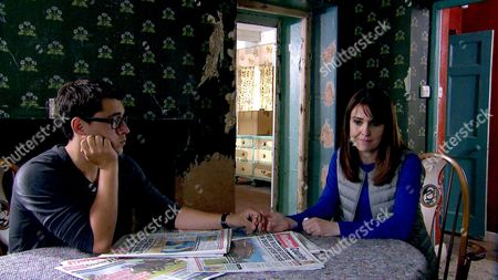 Ep 7907 Monday 14th August 2017 Finn Barton, as played by Joe Gill, unexpectedly discovers an agitated Emma Barton, as played by Gillian Kearney, at Wylie's Farm and sees her shoving a note furtively into her pocket.