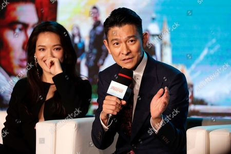 "Andy Lau, Shu Qi Hong Kong actor Andy Lau, right, speaks next to Taiwanese actress Shu Qi during a news conference of their latest movie ""The Adventurers"" at a hotel in Beijing, . The movie will start to be shown at cinemas worldwide on Aug. 11"