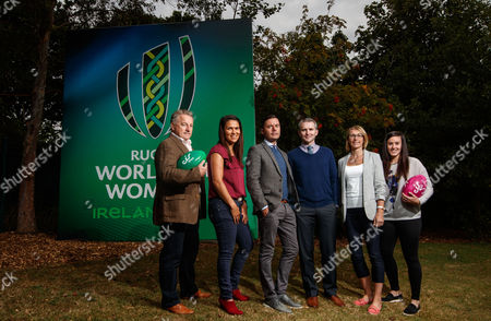 Stock Picture of eir Sport Unveil Their Broadcast Team For The Women's Rugby World Cup 2017, UCD, Dublin 8/8/2017. Pictured at the unveiling of the eir Sport broadcast team for its coverage of Women?s Rugby World Cup 2017 were Former Ireland Head Coach Eddie O?Sullivan, recently retired Ireland international Tania Rosser, eir Sport presenters Connor Morris and Des Curran, former Ireland international Sarah Jane Belton and current Ireland international Kim Flood. Rugby lovers will not miss a single minute of the action as eir Sports? coverage of Women?s Rugby World Cup 2017 features every game from the tournament including all Irish games and the final. Ireland?s pool games in the UCD Bowl, Dublin against Australia on 9th August, Japan on 13th August and France on 17th August will all be live on eir Sport. Pictured today (L-R) Eddie O'Sullivan, Tania Rosser, Presenters Conor Morris and Des Curran, Sarah Jane Belton and Kim Flood
