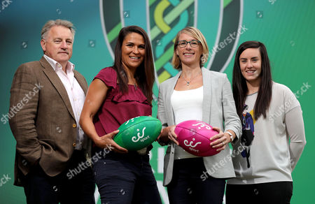 eir Sport Unveil Their Broadcast Team For The Women's Rugby World Cup 2017, UCD, Dublin 8/8/2017. Pictured at the unveiling of the eir Sport broadcast team for its coverage of Women?s Rugby World Cup 2017 were Former Ireland Head Coach Eddie O?Sullivan, recently retired Ireland international Tania Rosser, eir Sport presenters Connor Morris and Des Curran, former Ireland international Sarah Jane Belton and current Ireland international Kim Flood. Rugby lovers will not miss a single minute of the action as eir Sports? coverage of Women?s Rugby World Cup 2017 features every game from the tournament including all Irish games and the final. Ireland?s pool games in the UCD Bowl, Dublin against Australia on 9th August, Japan on 13th August and France on 17th August will all be live on eir Sport. Pictured today (L-R) Eddie O'Sullivan Tania Rosser, Sarah Jane Belton and Kim Flood