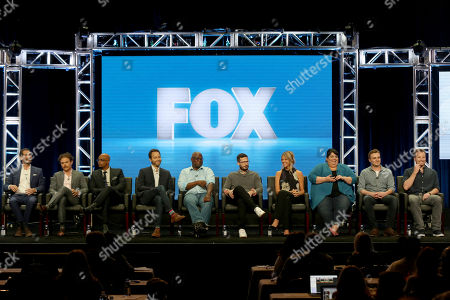 "Matt Miller, Clayne Crawford, Damon Wayans, Dan Goor, Andre Braugher, Andy Samberg, Kaitlin Olson, Carla Jimenez, Dave Chernin, John Chernin Matt Miller, from left, Clayne Crawford, Damon Wayans, Dan Goor, Andre Braugher, Andy Samberg, Kaitlin Olson, Carla Jimenez, Dave Chernin and John Chernin participate in the ""Tuesday Twosomes (Lethal Weapon, The Mick and Brooklyn Nine-Nine)"" panel during the FOX Television Critics Association Summer Press Tour at the Beverly Hilton, in Beverly Hills, Calif"