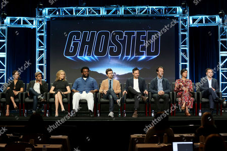 "Stock Picture of Amber Stevens West, Adeel Akhtar, Ally Walker, Craig Robinson, Adam Scott, Tom Gormican, Kevin Etten, Naomi Scott, Mark Schulman Amber Stevens West, from left, Adeel Akhtar, Ally Walker, Craig Robinson, Adam Scott, Tom Gormican, Kevin Etten, Naomi Scott and Mark Schulman participate in the ""Ghosted"" panel during the FOX Television Critics Association Summer Press Tour at the Beverly Hilton, in Beverly Hills, Calif"